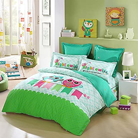 Amazon Com Lovo Kid S Best Friends Owl 100 Cotton 4 Piece Bedding Set Duvet Cover Fitted Sheet 2x Shams Full Home Kitchen