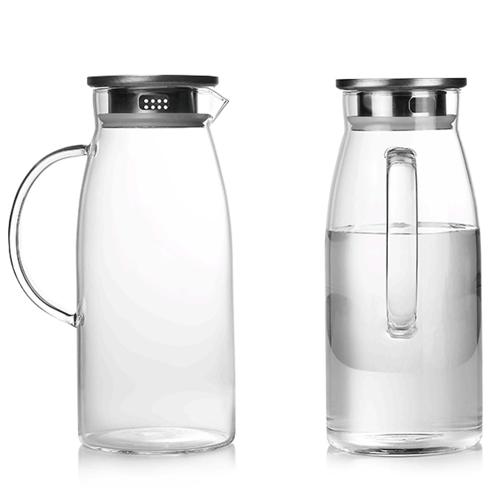 amazoncom   ounces glass pitcher with lid hotcold water jug  - amazoncom   ounces glass pitcher with lid hotcold water jug juiceand iced tea beverage carafe carafes  pitchers