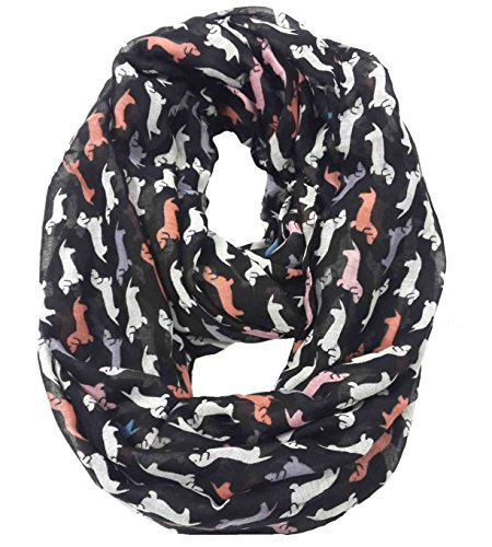 Lina & Lily Dachshund Dog Print Infinity Loop Scarf for Women Lightweight (Multi)