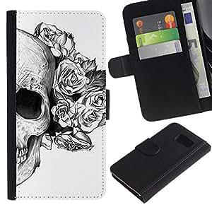 Caso Billetera de Cuero Titular de la tarjeta y la tarjeta de crédito de la bolsa Slot Carcasa Funda de Protección para Samsung Galaxy S6 SM-G920 Skull Roses Floral Death Tattoo Metal