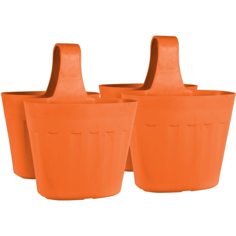 Pride Garden Products Mela 15 in. Lightweight, Frost-Proof, UV Resistant Large Rim Plastic Saddlebag Pot Container Rail Planter (2-Pack) in Orange