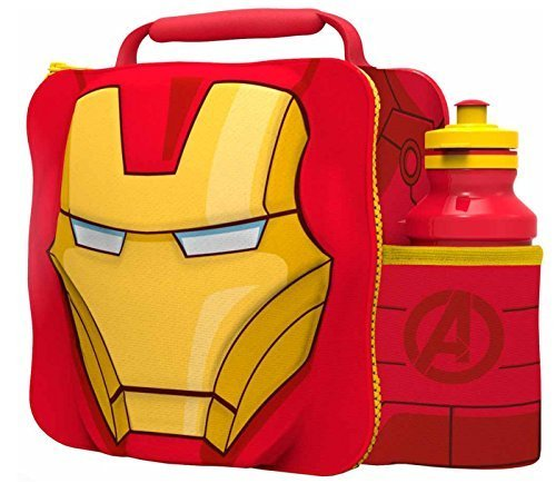 IRON MAN Kids Children 3D Lunch Box Bag With Sport Water (Ironman Lunch Box)