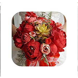 special shine-shop Hand Flowers European Bride Holds Flower Ball Simulation Bouquet Wedding Props Put On Wedding Pography Flores Artificiales,Red 61