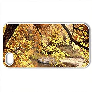 Autumn creek - Case Cover for iPhone 4 and 4s (Forests Series, Watercolor style, White)
