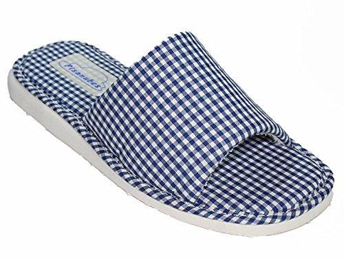 Andinas - Chancla Vichy de toalla y con puntera abierta Azul marino