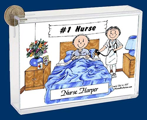 Pesonalized Bank: Nurse – Female, Adult Male Patient Great for Nurse, Home Health Care, Thank You Gift