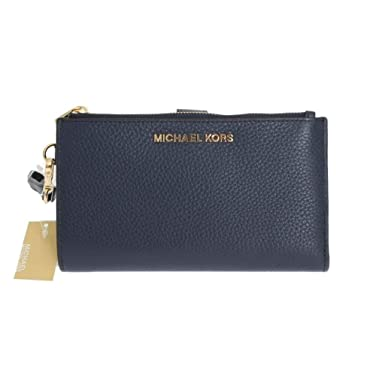 michael kors jet set travel double zip wristlet navy blue rh amazon com