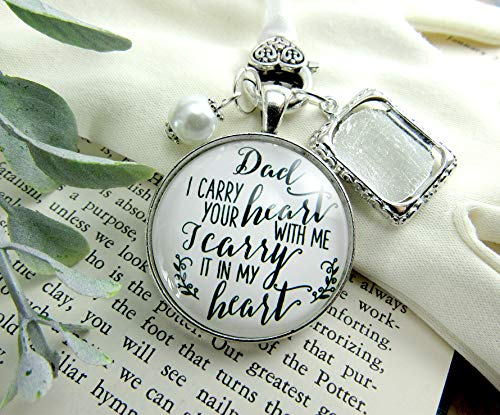 (Photo Bouquet Charm Dad I Carry Your Heart Memorial Jewelry Gift Bride's Father Remembrance Wedding Silver Finish Keepsake)