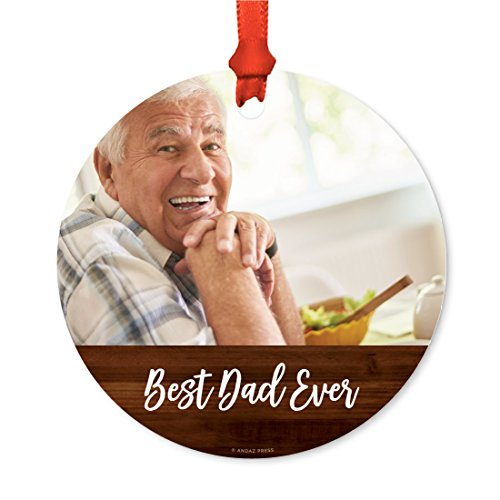 Andaz Press Photo Personalized Christmas Ornament, Rustic Wood, Best Dad Ever, 1-Pack, Includes Ribbon and Gift Bag, Custom Image