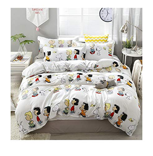 KFZ Bed Set Beddingset Duvet Cover No Comforter Flat Sheet Pillowcases KSN1904 Twin Full Queen King Sheets Set Snoopy Dog Player Cherry Printed for Kids (Happy Family, White, Queen 80