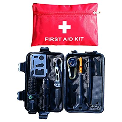 Elite Four Emergency Survival Kit 10-in-1 with First Aid Kit, Multi-Tools for Camping/Climbing/Hiking/Traveling from Elite Four
