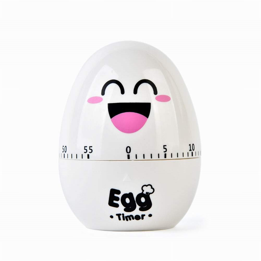 AimeFor Cute Kitchen Egg Timer -60 Minutes Egg Shaped Mechanical Rotating Alarm for Cooking
