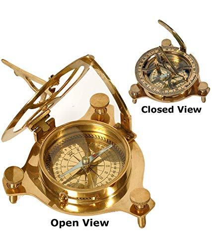 Worldmart Solid Brass Classic Sundial Compass Hiking Climbing Biking Hunting Camping Survival Compass Outdoor Navigation Directional Nautical Liquid Filled Compass