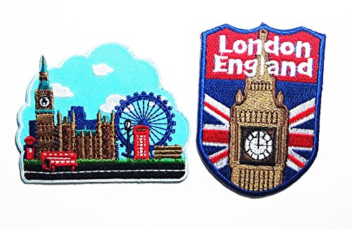 PP patch Set 2 Tower Bridge London Travel patch , Clock Tower Tower of Big Ben London ENGLAND patch DIY Applique Embroidery Iron on - Global Usps Tracking Mail