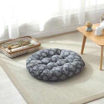 TMJJ Cotton & Linen Round Floor Pillow Cushion Japanese Style Futon Seat Cushion Thicken Chair Wave Window Pad 21'' x 21'',Set of 2 (Dark Happy Tree) by TMJJ Home (Image #5)