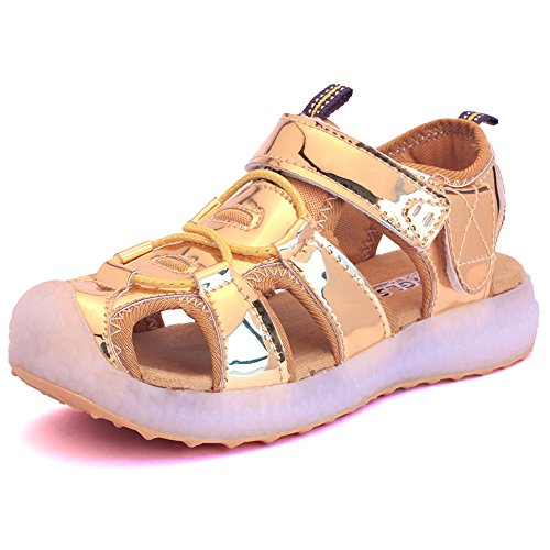 edv0d2v266 Kids Boys Girls USB Children LED Sandle Shoes with Light Glowing Luminous Sneakers(Gold 11.5 M US Little Kid) by edv0d2v266