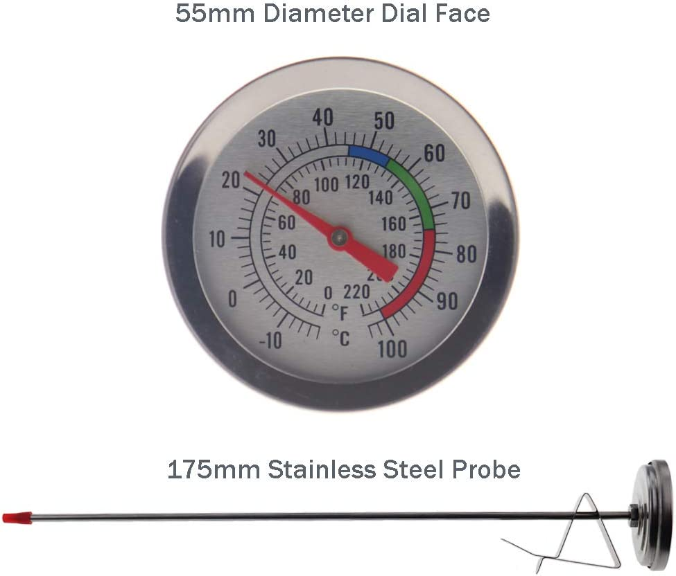 clip per contenitore e quadrante facile da leggere Termometro per realizzare candele strumento ideale per sciogliere cera di soia e paraffina con sonda in acciaio inossidabile da 175 mm