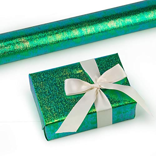 RUSPEPA Gift Wrapping Paper Roll- Green Paper with Rainbow Shiny for Wedding,Birthday, Shower, Congrats 81.5 Sq Ft - 30Inch X 32.8 Feet Per Roll (Wrap Gift Green)