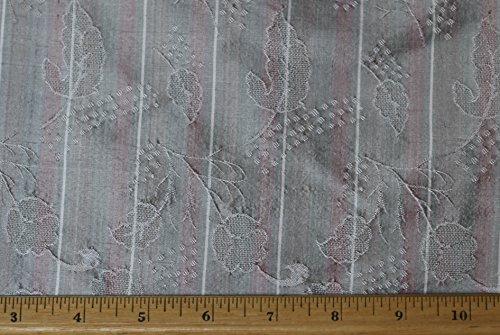 Silk Upholstery Fabric - Silver Dupioni Jacquard, 100% Silk Fabric, By The Yard, 44