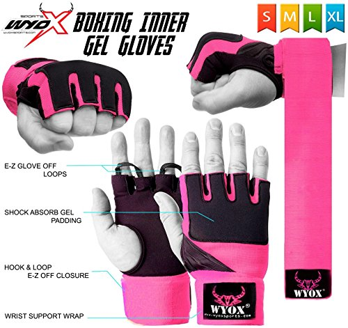 Wyox Ladies Training Boxing Inner Gloves gel Hand Wraps MMA Fist Protector Bandages (Small)
