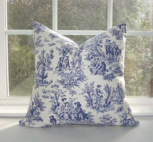 CELYCASY Navy Blue White Toile Pillow Covers Baby Girl Boy Nursery Throw Pillows Decorative Blue Waverly Toile Print