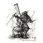 Samurai Duo Steampunk PRINT 8x10 Armor and Katana Sumi Ink 5
