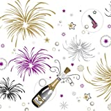 """Party Essentials VM54108 ValuMost Rectangular Plastic Tablecover, 108"""" Length x 54"""" Width, New Years Print (Case of 24)"""