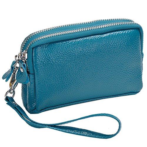 Bag Wallet Zip Women's Sale Organizer Leather Blue Purse Wristlet Coin Clutch Ba7x1g87qw