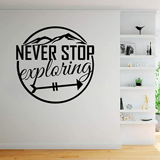 Quote Wall Decal Never Stop Exploring Vinyl Wall Sticker Kids Bedroom Adventure Mountain Teen Boy Room Home Decoration S518 Wall Stickers Aliexpress