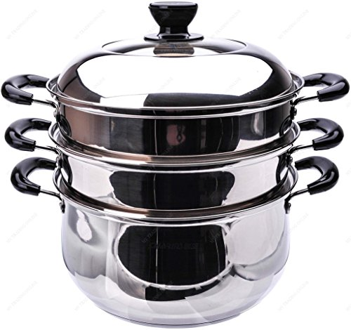 M.V. Trading S7326A Stainless Steel 3-Tier Steamer, Clad Base and Induction Ready With Lid High Dome Cover, 26cm, (10¼-Inches)