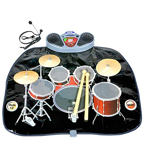 Rock 'N' Roll Electronic Drum Mat – Portable Electronic Drum Pad – Creative Electronic Drum Kit Set Floor Fun Play Mat – Amazing Gifts for Boys & Girls With Drumsticks Headphone and Micr