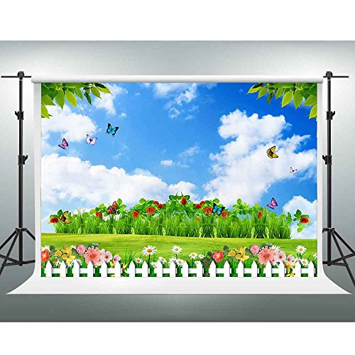 GESEN Spring Backdrop 7X5ft Blue Sky White Clouds Colorful Flowers Butterfly Garden Background Wedding Themed Party Backdrop Video Studio Props -