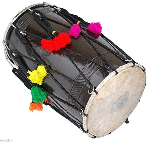 BUY DHOL DRUMS~PUNJABI BHANGRA BLACK MANGO WOOD~HAND MADE INDIAN~FREE! BELT by SAI MUSICAL