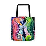 Cheap Colorful Rainbow Seahorse Tote beach carrying bag