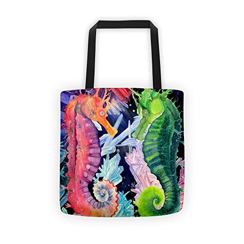 (Colorful Rainbow Seahorse Tote beach carrying bag)