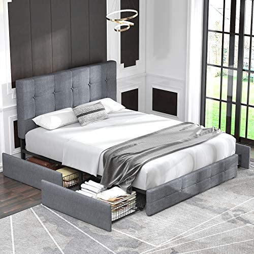 Allewie Queen Platform Bed Frame with 4 Drawers Storage and Headboard/Square Stitched Button Tufted Upholstered Mattress Foundation with Wooden Slats, Light Grey