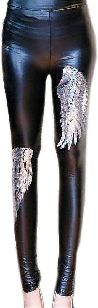 Mujer Pantalones De Cuero Moda Lentejuelas para Friends Chic Flacas con Lentejuelas Pantalones De Piel Sintética Pantalones De Lápiz A Prueba De Viento Slim Fit