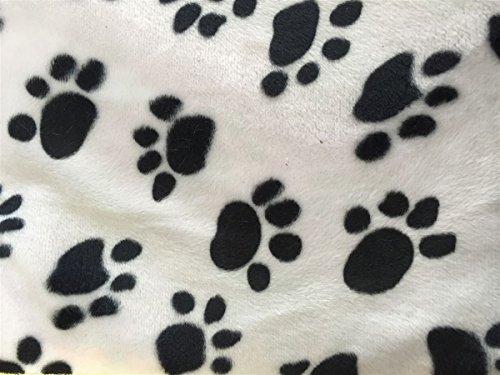 Black White Puppy Paw Print Velboa Faux Fur Fabric - BTY - 58