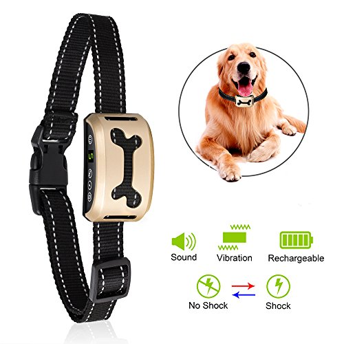 [2017 LCD Reflective Collar, Safe No Harm] Dog No Bark Collar, TIGEER Prevent Stop Anti Barking Control Training Collar for Small Medium Large Dogs
