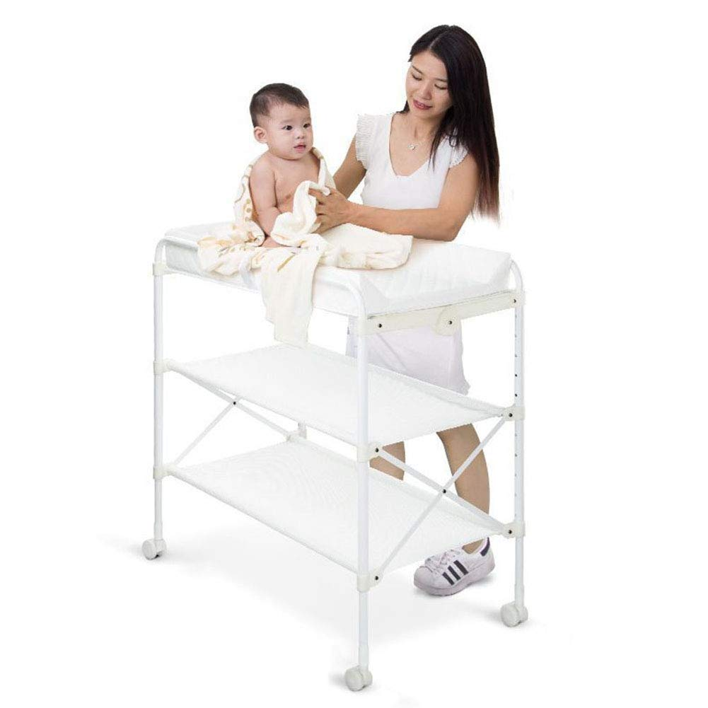 YXNZ Roller Baby Goods Rack, Baby Changing Tables Height Adjustable Baby Diaper Table Unit Station Care Table Foldable Shower Tablerp