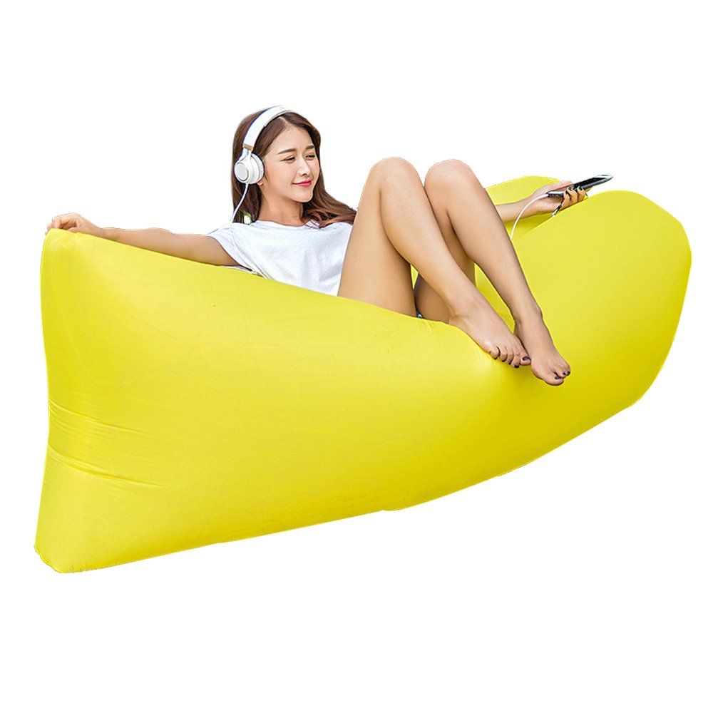 Wzdmll Inflatable Couch Lounger Air Filled Balloon Furniture, Outdoor Hangout Bean Bag, Sleeping Lazy Sofa, Portable Waterproof Compression Sacks for Camping, Beach (YELLOW)