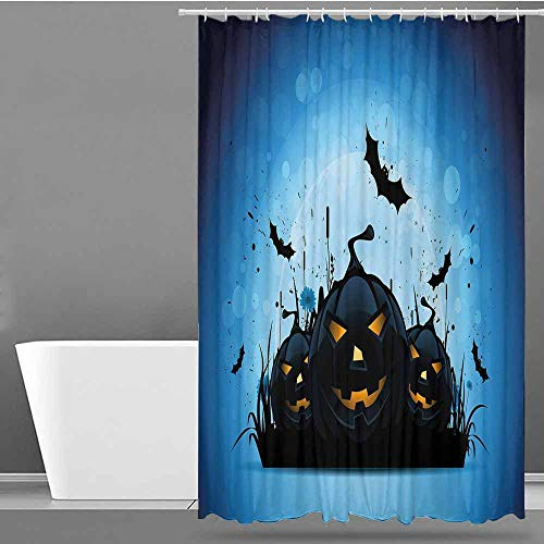 VIVIDX Home Decor Shower Curtain,Halloween,Scary Pumpkins in Grass with Bats Full Moon Traditional Composition,goof Proof Shower,W55x86L Black Yellow Sky Blue]()