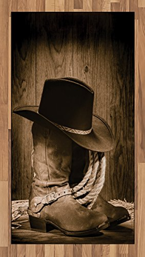 Ambesonne Western Area Rug, Wild West Themed Cowboy Hat and Old Ranching Rope On Wooden Display Rodeo Cowboy Style, Flat Woven Accent Rug for Living Room Bedroom Dining Room, 2.6 x 5 FT, Brown