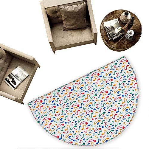 Music Semicircular Cushion Cute Musical Notes Melody Kids Beats Watercolor Radio Rhythm Vibes Artful Design Entry Door Mat H 70.8'' xD 106.3'' Multicolor