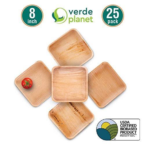 Verde Planet - 8 inch Square Palm Leaf Plates - Biodegradable, Ecofriendly, Disposable, Sturdy, Elegant, Premium Quality Plates, USDA Certified - 25 ()