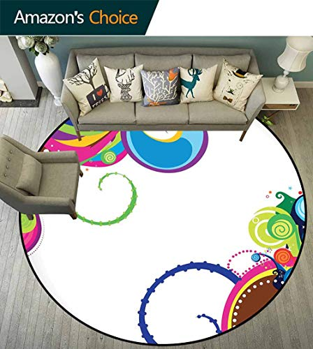 Abstract Round Rug Classroom,Vivid Waves of Various Sizes in an Expressionist Abstract Artwork Celebration for Living Room,Multicolor,D-55 ()