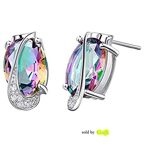 GUIJI Silver Plated Wedding Jewelry Stud Earrings with Colorful Stone 25G (Silver Setting Plated Earrings Stone)