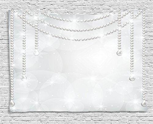(Ambesonne Pearls Decoration Collection, Shiny Diamonds Stones Pearls Hanging Necklace Bright Chic Luxury Bridal Decor Image, Bedroom Living Room Dorm Wall Hanging Tapestry, 60 X 40 Inches, Grey)