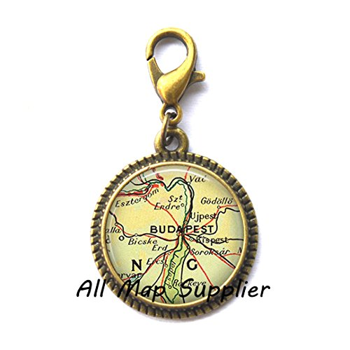 Beautiful Zipper Pull Budapest map Charming Zipper Pull, Budapest, Hungary map Zipper Pull, Budapest Charming Zipper Pull, Budapest Zipper Pull,A0062