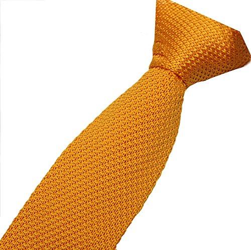 Cravatemince pour hommes Jaune Unis bout carré de 5cm
